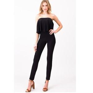 NWT Tiered Ruffled Black Jumpsuit - Super Soft!